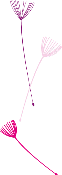 Illustratie van 3 kleuren pluisjes verticaal uit logo HelenHelpt